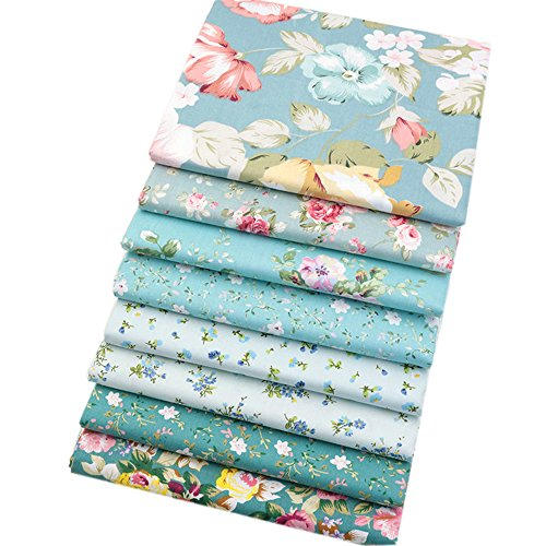8 piezas de tela de algodón verde, tela de cuartos finos, tela acolchada para coser manualidades, 46 x 56 cm