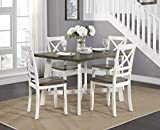 Lexicon Leland 5-Piece Dining Set, White and Cherry