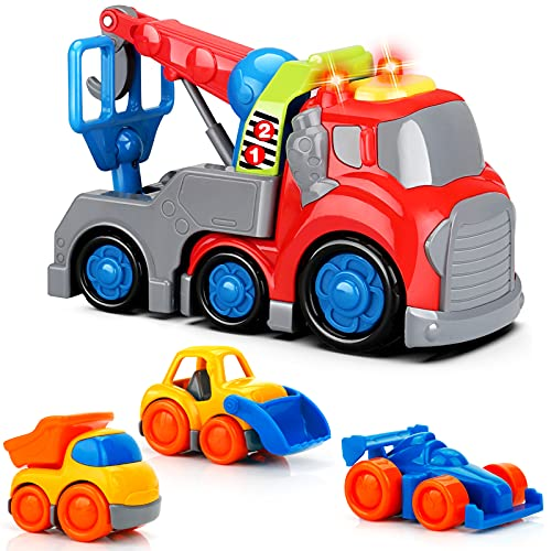 Construction Vehicles Toys for 1,2,3,4 Year Old Boys, Truck Toy Cars for Toddler, Crane Small Dump Racing Bulldozer, 18 Month+ Old Baby Toys Digger with Sound and Light