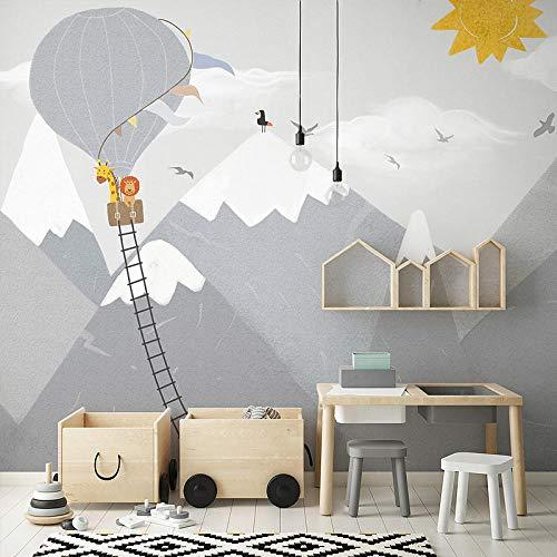 Hintergrundbild 3D Kinderzimmer Tapete Berg Cartoon Heißluftballon Tapete Schlafzimmer Hintergrund Wandmalerei-250Cm×175Cm