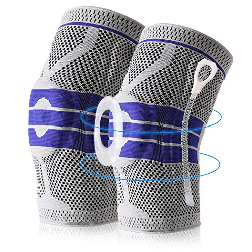 Knee Brace Compression Sleeve, Elastic Knee Wraps Patella Stabilizer with Silicone Gel Spring Support, Hinged Kneepads Protector for Meniscus Tear Arthritis Running Men Women 2 Pack(XX-Large)