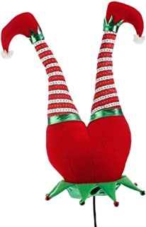 Red Plush Elf Butt Pick Accent Christmas Tree Ornament Decor, 21 Inch x 9.5 inch on Bendable stick