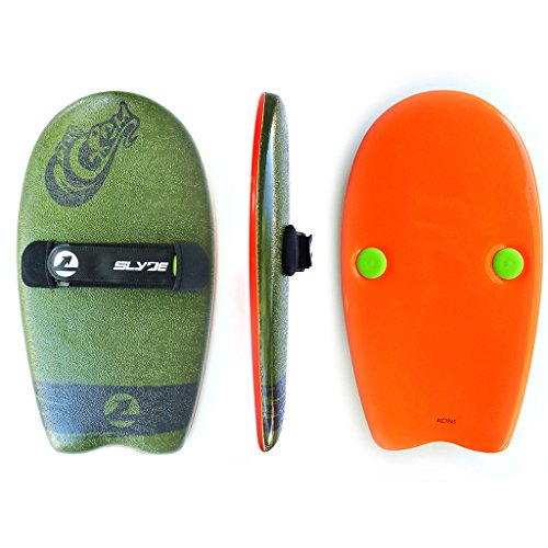 As Seen On Shark Tank! The Slyde Grom Soft Top Body Surfing Handboard, Easy to Use, Fun to Master, Safe for All Ages, Portable, Light Weight, Durable with Exceptional Buoyancy - Army Green/Pilsner