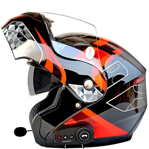 YANHAI Casco de Motocicleta abatible con Bluetooth Casco Modular para Responder Llamadas Escuchar música G-X-Large