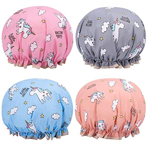 Unicorn Shower Caps for Long/Thick Hair, Cute Hair Cover for Women and Girl, Waterproof Bath Hat, Double Layer Bonnet