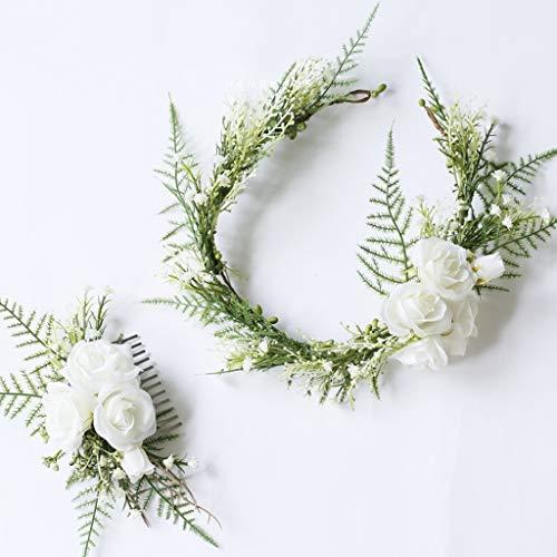 LYM Fleur Couronne Guirlande Bandeau Mariage mariée Festival Accessoires (Couleur : A)