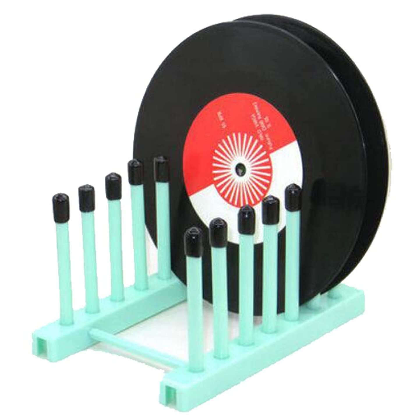 Vintage Vinyl Record Storage Holder Stand cleaning device drying rack Display - With Silicone top(Keep your records scratch free)– Holds up to 6 Album Lp's, - for 12