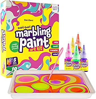 Dan&Darci Marbling Paint Art Kit for Kids - Arts and Crafts for Girls & Boys Ages 6-12 - Craft Kits Art Set - Best Tween Paint Gift Ideas for Kids Activities Age 4 5 6 7 8 9 10 Marble Painting