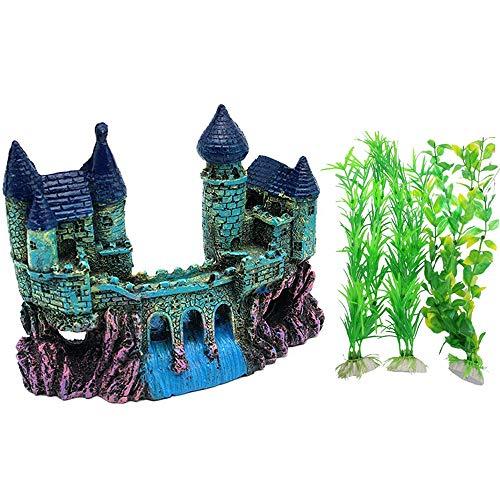 Qiwenr Aquarium Dekoration Schloss,Dekoration für Aquarien Aquarium künstliche Fish Tank Dekoration Kommt mit 3 Algenpflanzen,Harz Schloss Landschaft Ornament Dekor