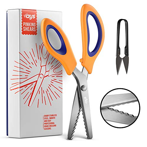 VAYS Pinking Shears for Fabric, Dressmaking & Crafting - Stainless Steel Sharp Zig Zag Crimping Scissors for Sewing - Thread Cutter Included