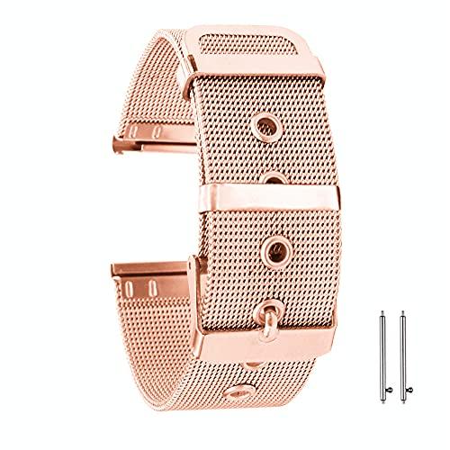 Aliwisdom Correa de Reloj, Tipo universal Metal Watch Strap de Malla de Acero Inoxidable de 18mm 20mm 22mm Pulseras de Repuesto de liberación rápida para Hombres y Mujeres (22 mm, Oro rosa)
