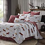 Quilt Bedding Set in King by Virah Bella - Saddle Up Horses Burgundy Bandana Printed Lightweight Reversible Quilt with 2 Matching Pillow Shams - Cozy & Beautiful Lodge-Themed Bedding