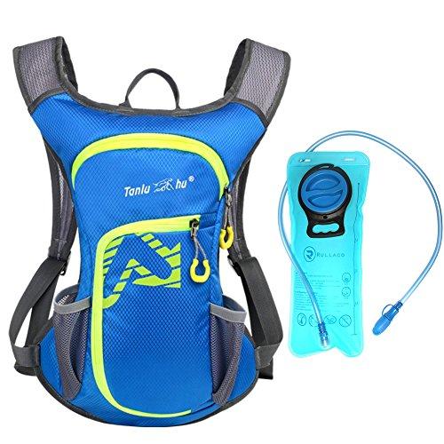 Sac d'hydratation 12 L avec poche à eau de 2 L Rullaco - Sac étanche pour le camping, la randonnée, la course, le cyclisme, le trekking - Unisexe, bleu