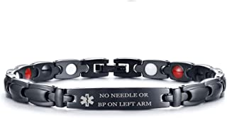 XUANPAI Free Engraving Personalized Stainless Steel Magnetic Therapy Medical Alert ID Bracelet Adjustable