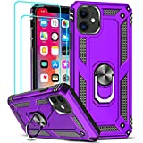 LeYi Compatible for iPhone 11 Case with [2 Pack] Tempered Glass Screen Protector, Military-Grade Armor Phone Cover Case with Ring Magnetic Car Mount Kickstand for iPhone 11 6.1 inch, Purple