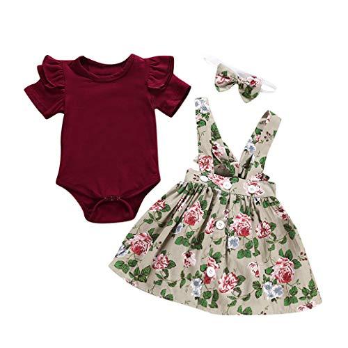 Sameno 3Pcs Toddler Kids Baby Girls Overalls Skirt +Headband+Romper SummerDress Skirt Dress Clothing Outfit (Beige, 6-12 Months)
