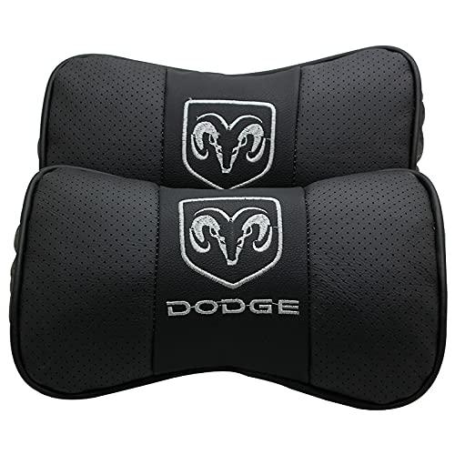 AOWIFT Adecuado para el reposacabezas del coche de Dodge, almohada de cuello de cuero, protector de cuello de almohada, almohada de cuero de vacuno de producto de coche (Dodge-Black)