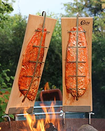 Czaja Feuerschalen® Flammlachsbretter für Feuerschalen, 2er Set Räucherbrett aus Buchenholz incl. stabilen Edelstahl Halterungen
