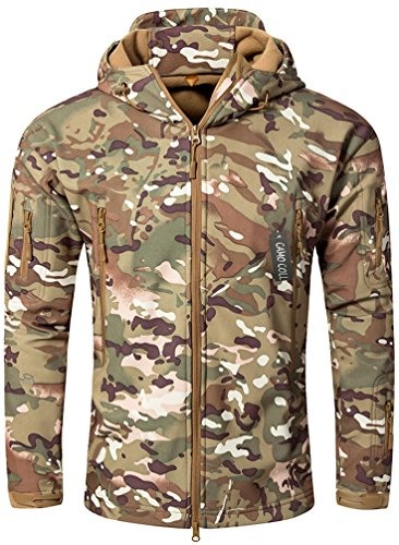 CAMO COLL Men's Outerwear Camouflage Hoodie Military Jacket (Army, S)