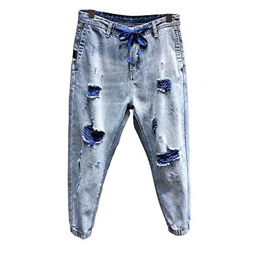 Streetwear Rasgados pantalones vaqueros de los hombres recortadas luz azul de algodón Hip hop estilo coreano del basculador de los pantalones vaqueros holgados lazo de la cintura y las piernas en difi
