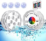 TEPENAR Submersible Led Pool Lights - Waterproof Shower Light Battery Operated Remote Controlled Color Changing Underwater Pond Lights with 4pcs Suction Cup for Pool Vase Spa Party Hot Tub 2 Pack