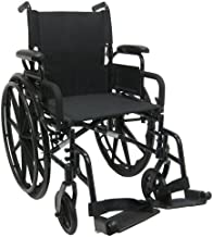 Karman Healthcare 802N-DY Aluminum Lightweight Wheelchair with Flip Back Armrests, Swing Away Footrests, Black, 16