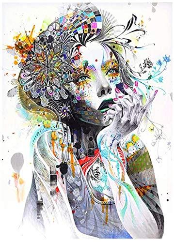 """Surfilter Print auf Leinwand Beauty Flower Modern Girl Leinwand Malerei Poster und Drucke Wandkunst Bild für Wohnzimmer Dekorative 27.5& rdquo; x 39,4""""(70x100cm) No Frame"""