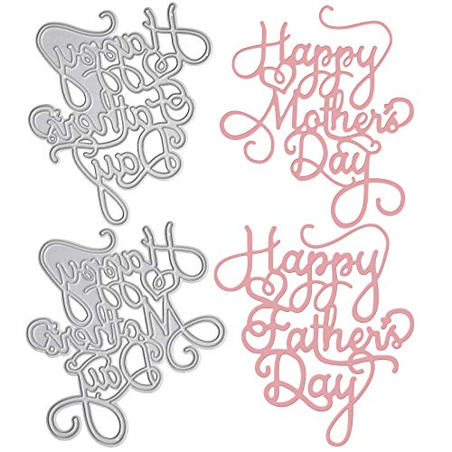 OOTSR 2PCS Metal Cutting Dies, Happy Mother's Day and Happy Father's Day Die Cuts for Card Making/ Paper Crafting/Scrapbooking/Embossing/Photo Album Decor/DIY Craft/Gift