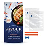 Savour Sous Vide Cooking Bags (16 Count Gallon Size), Reusable, Fast & Simple