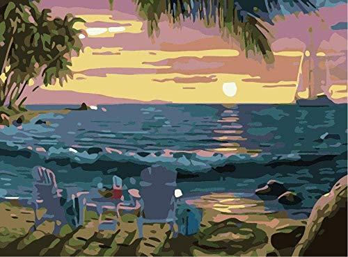 DIY canvas voor volwassenen, digitaal, olieverfschilderij, cadeau, kinderen, digitale start, muurschilderingen, olieverfschilderij, set, decoratie voor huis, eieren, stoel, marine, 40 x 50 cm (zonder lijst)