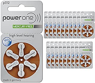 Power One p312 Hearing Aid Battery (20 Packs of 6 Each - 120 Cells) 2 Boxes of 60