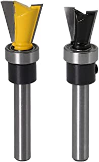 Yakamoz 2Pcs 1/4 Inch Shank Dovetail Joint Router Bits with Bearing Guide Dovetail Jig Bit for Furniture Building Cabinet Making Woodworking Cutter Tools