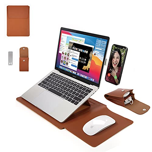 13.3' Laptop Sleeve with Stand, Mouse Pad, Phone Side Mount, Cable Organizer. Complete Set for Healthy, Comfortable Viewing Angle, Office, Travel. Easy DIY Install (Brown)