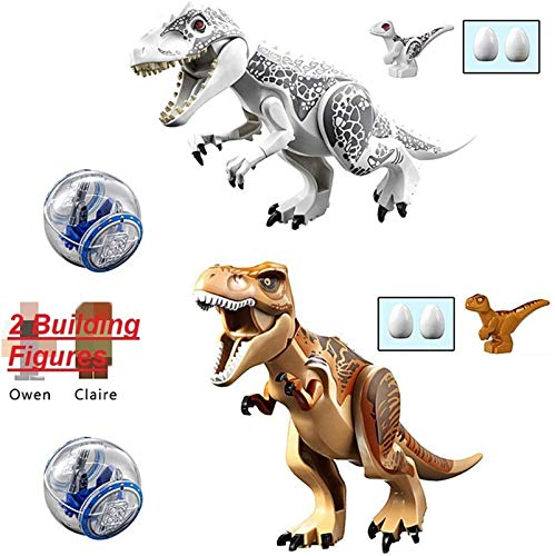 "GiGimelon Set of 2 Large Jurassic Dinosaurs with Ball Cars Baby Dinos and 2 Figures, Building Blocks Tyrannosaurs T-Rex Toys,11.2"" 5.7"" - Safe ABS Plastic, Gift Idea"