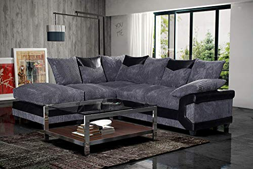 Black & Grey Fabric Jumbo Cord Sofa Settee Couch 3+2 Seater Footstool Left Hand Right Hand Corner Sectional Couch Set (Left Hand Corner, Black & Grey)