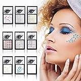 Gukasxi 9 Sheets Eye Body Face Gems Rhinestone Sticker,Self Adhesive Rhinestones Rainbow Face Gems for Women Mermaid Glitter Festival Accessory and Nail Art Decorations,Gems Rhinestone Stickers