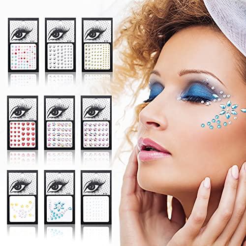 Gukasxi 9 Blatt Auge Körper Gesicht Edelsteine Strass Aufkleber, selbstklebende Strasssteine Regenbogen Gesicht Edelsteine für Frauen Meerjungfrau Glitter Nail Dekorationen
