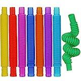 8 Piezas Mini Juguetes Sensoriales de Pop Tubos, Juguetes Sensoriales de Tubo Elástico de Colores, Juguetes de Tubo Pop Fidget para Favor de Fiesta para Aliviar Estrés