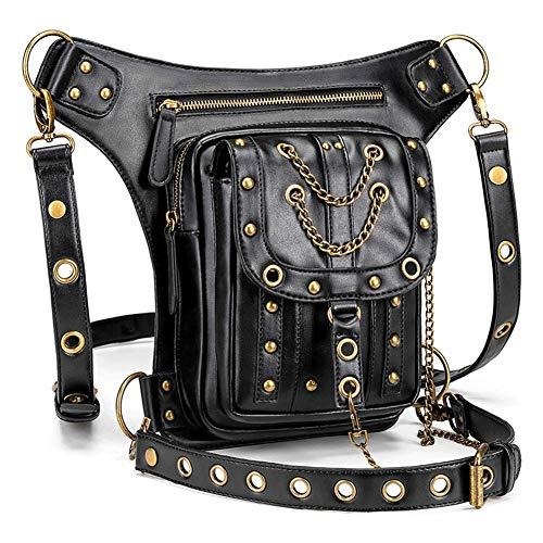 Bolso de la Motocicleta Steampunk Femenino Bolso Retro Hombro Messenger Bag Outdoor Multifunción Chain Waist Bag