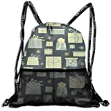 Drawstring Bundle Bags Gym Fitness Backpacks for Men Women Boys Girls Sports Hiking Cycling Camping, Christmas Presents Pattern Vector Image,16.5