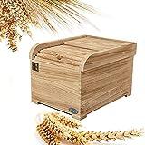 HOUSHIYU-521 Wooden Rice Storage Bin Cereal...