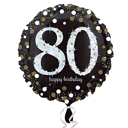 amscan 3374201 Folienballon 80 Sparkling Birthday, Schwarz, Silber, Gold, 18