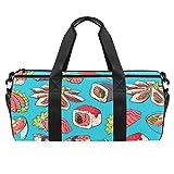 LAZEN Hombro Handy Sports Gym Bags Travel Duffle Totes Bag para hombres, mujeres, platos asiáticos con camarones, sashimi, mariscos