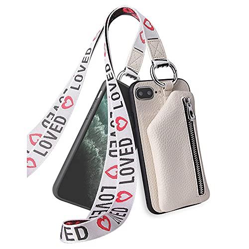 hongping Carcasa de Cartera de Cuero con para iPhone 7 Plus/iPhone 8 Plus- Funda Colgante para movil Carcasa- Colgar movil Cuello Funda con Correa Colgante con Cordon para Llevar en el Cuello