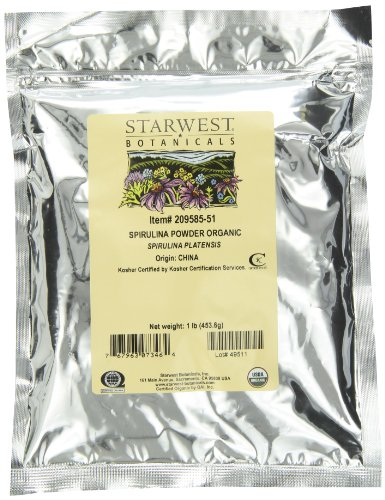 starwest Botanicals Certified Organic Spirulina en polvo, 1libra bolsa Bulk