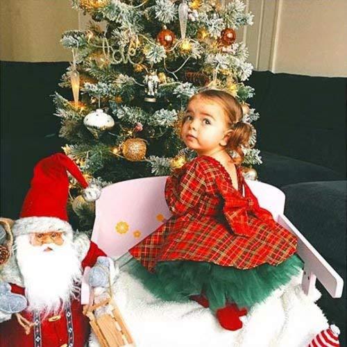 Frecoccialo - Vestido de tutú navideño para bebé niña con espalda descubierta, gran lazo, vestido de princesa a a cuadros rojos, manga larga con borde de lentejuelas rojo 0-12 Meses