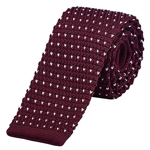 DonDon Cravatta Uomo fatta a maglia 5 cm - rosso scuro con puntini bianchi
