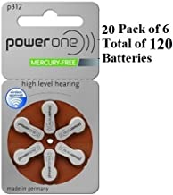 PowerOne Size 312 Hearing Aid Batteries, No Mercury