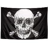 Boland 74110 - Fahne Pirat, Größe 200 x 330 cm, Polyester, Totenkopf, Flagge, Banner, Wanddekoration, Hängedekoration, Kindergeburtstag, Mottoparty, Karneval, Halloween