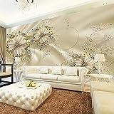 Vicueyy 3D Fototapete Wandbild Im Europäischen Stil Diamantschmuck Goldene Blume Hintergrund Dekor Wandbild Moderne Kunst Wandmalerei Wohnzimmer-450cmx300cm